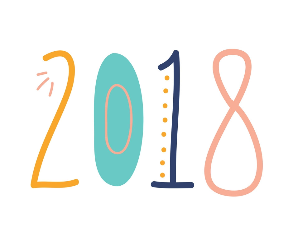 the year 2018 in fun and colorful writing