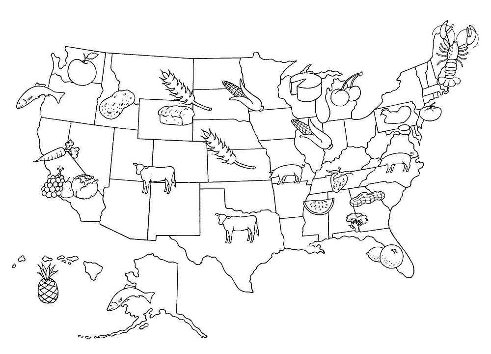 drawing of the United States with foods commonly raised