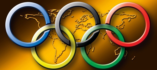 the Olympic rings over a world map
