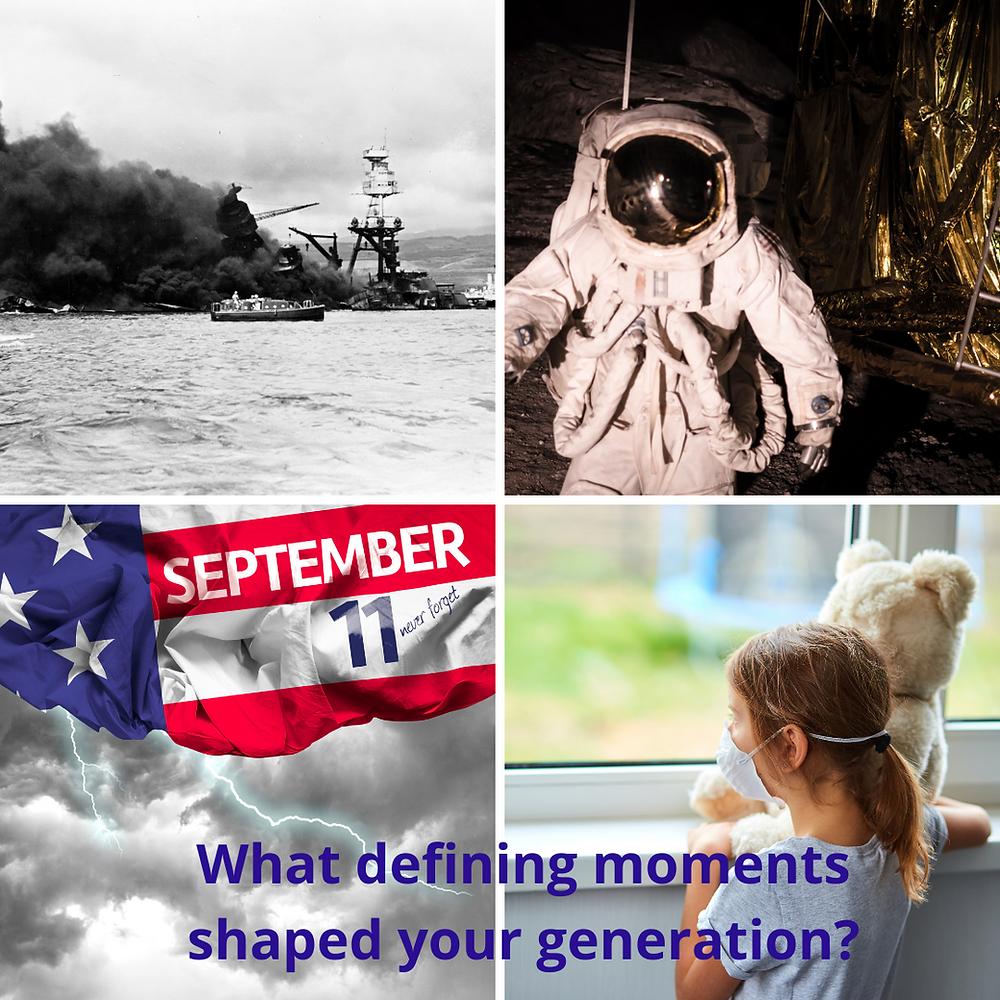 Images of Pearl Harbor, moonwalk, Sept 11, COVID pandemic
