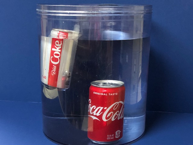visual aid using a canister of water and cans of Coke and Diet Coke floating and sinking