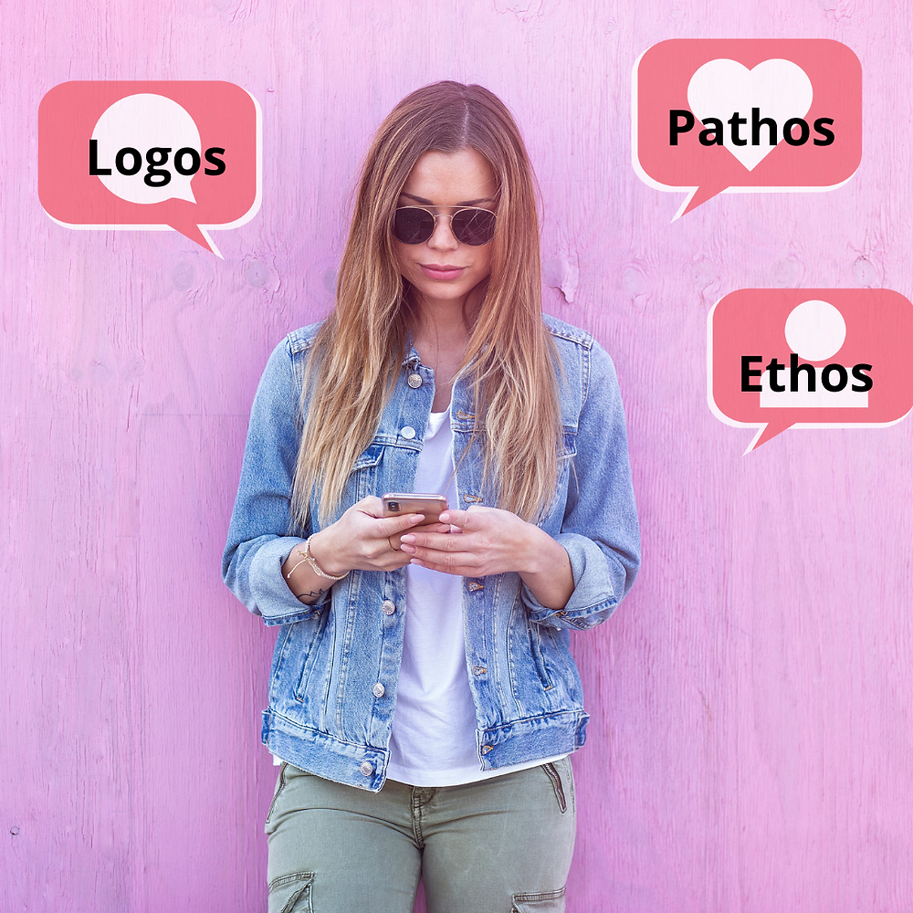 woman on her phone and speech bubbles showing comments, likes and follows