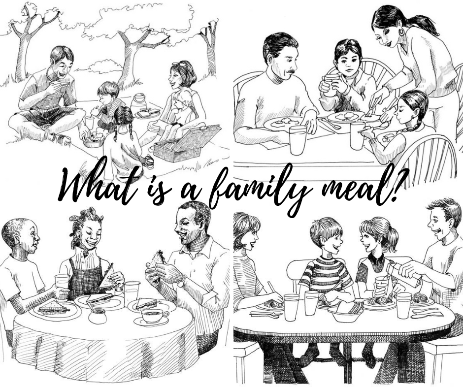 four depictions of families eating together