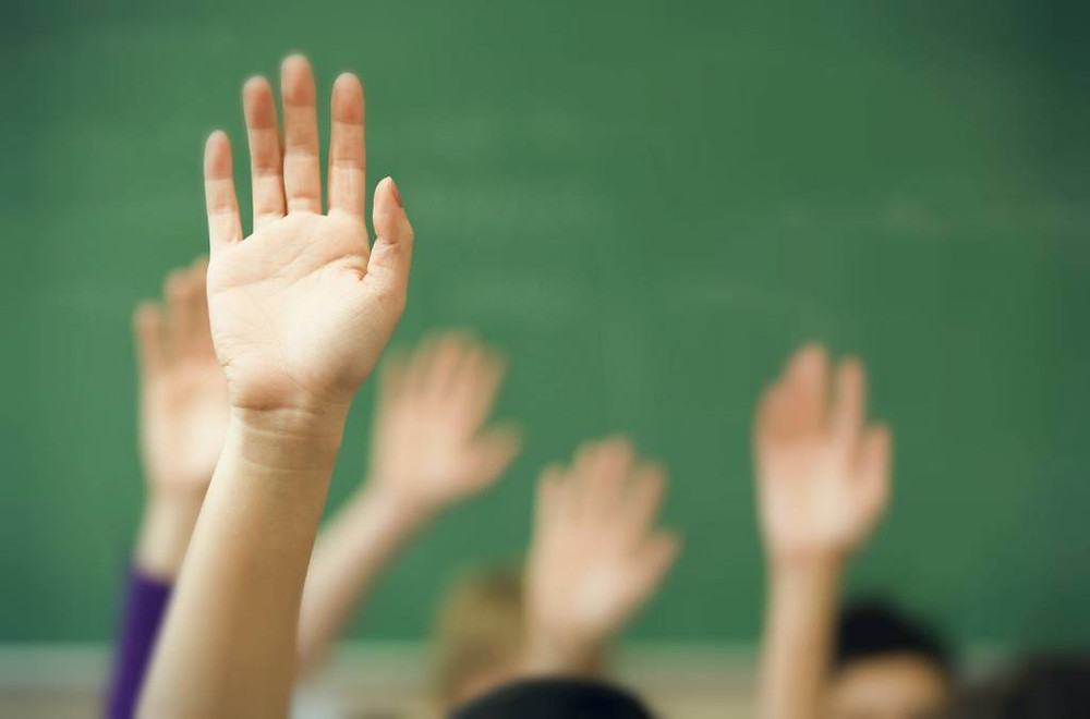 hands raised in an audience to ask a question