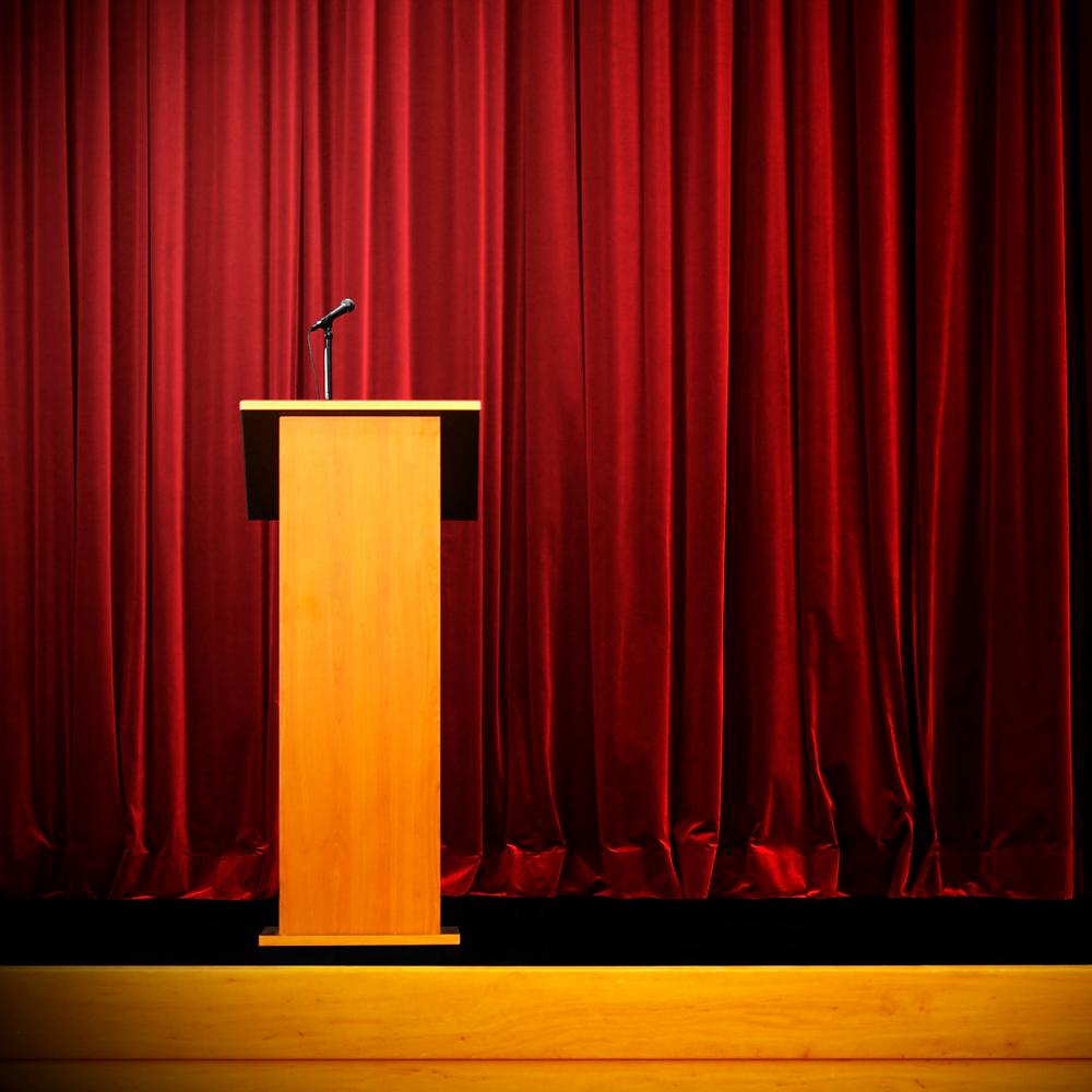 Podium on a stage