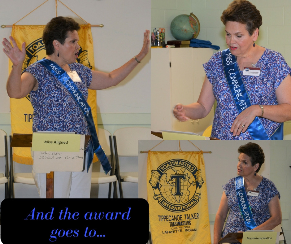 Barb Mayfield gives Miss Communication speech at Toastmasters