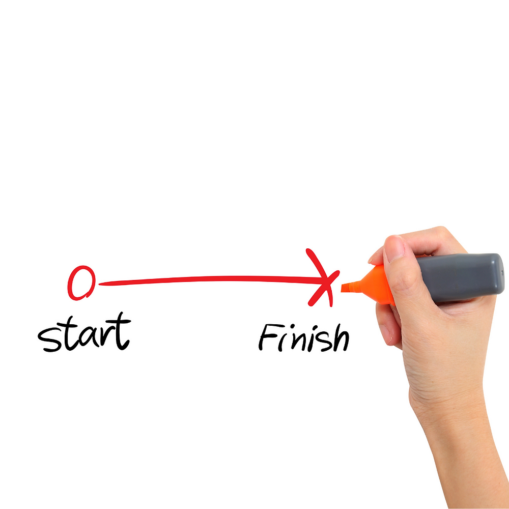 A hand is drawing a line from start to finsh with a red marker.