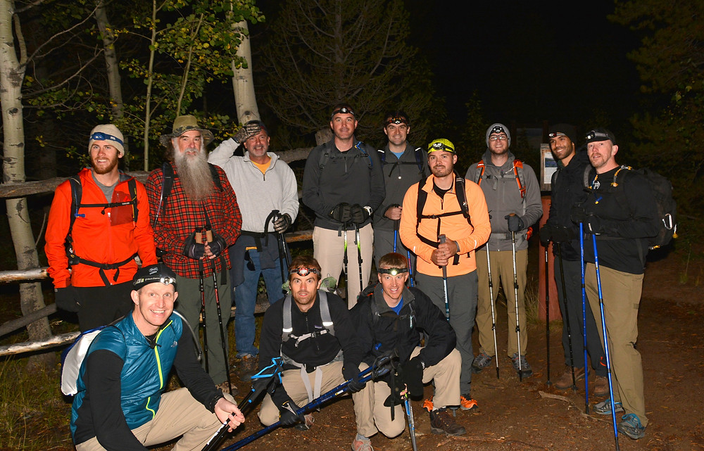 group of hikers ready to climb a mountain in Colorado