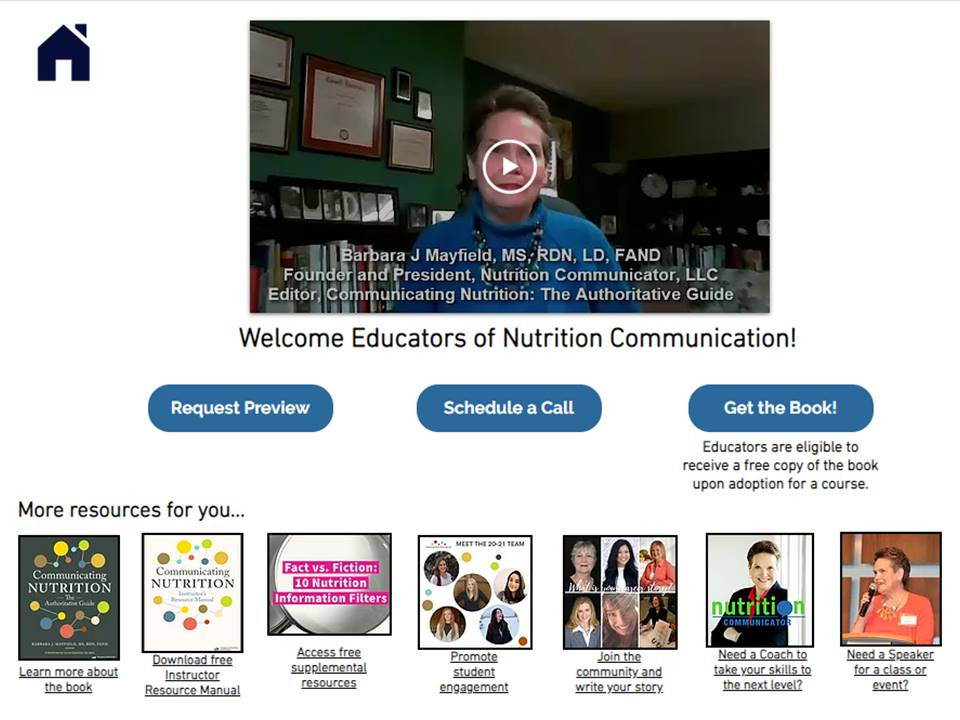 Educator page on Nutrition Communicator website