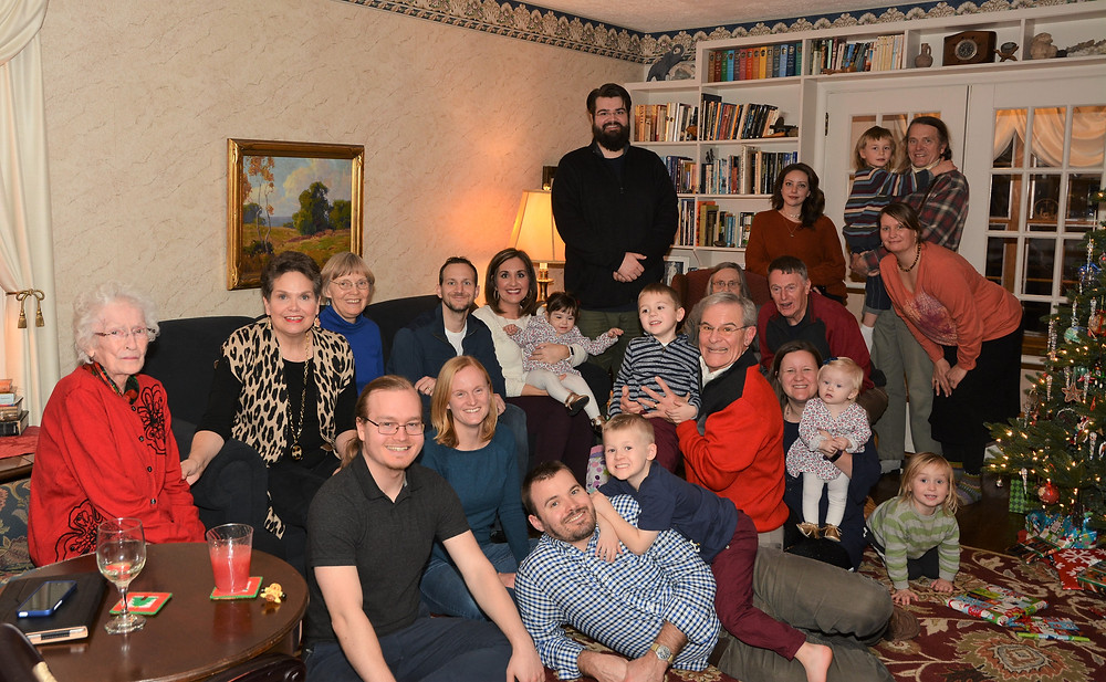 large multi generational family at Christmas