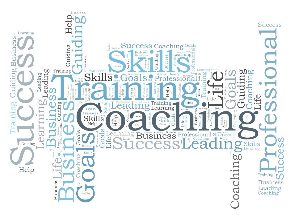 word cloud of words related to professional coaching