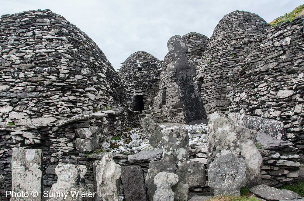 Dry stone Clochán (beehive huts) on Skellig Michael. Photo ©  Sunny Wieler