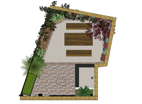 Designing for a small awkward space -   an E5 Courtyard