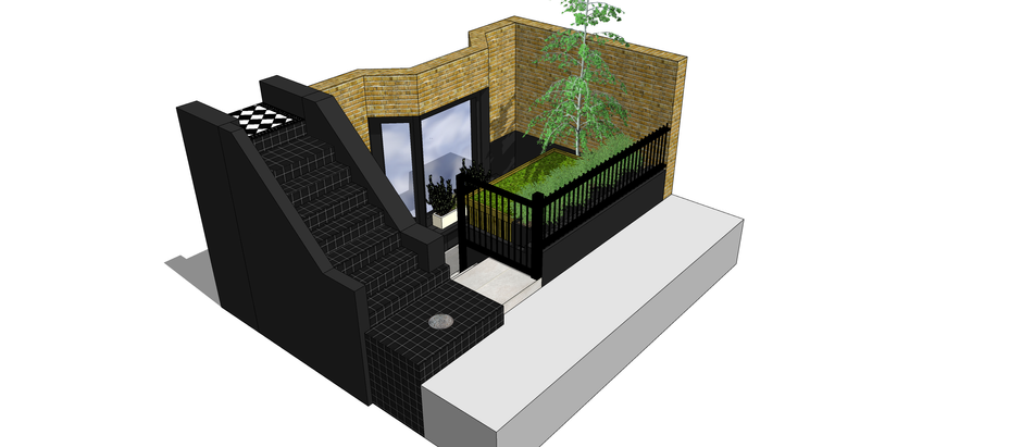 How to provide storage and kerb appeal? - an E5 Basement Front Garden