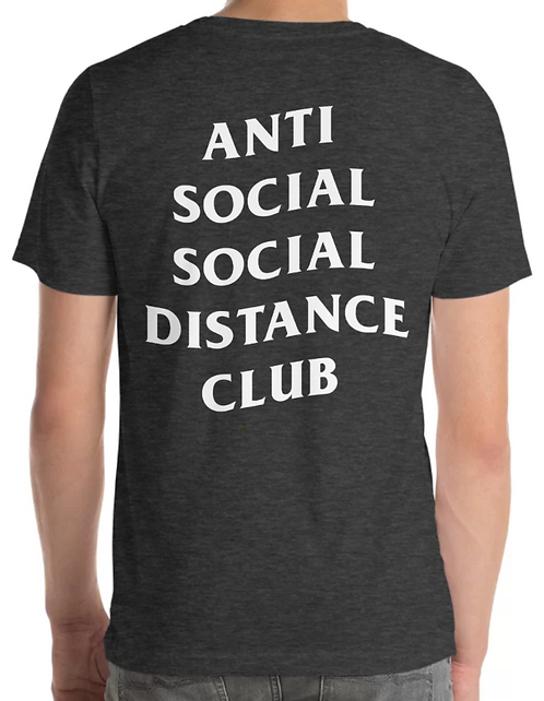 Social Distance Tee Heather Grey/White