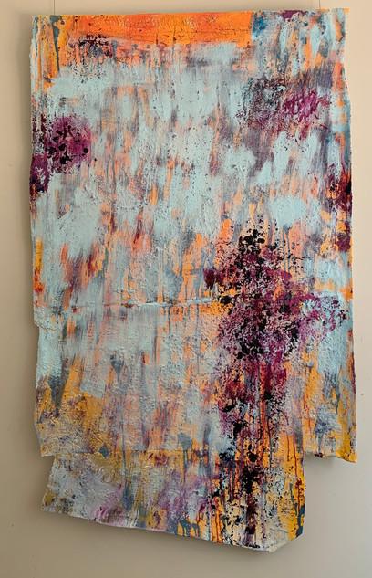 Wollongong City Beach, oil, sand and cotton on canvas 167cmx102cm