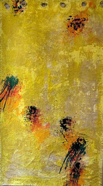 Stargardt Holes I, oil and sand on polyester acrylic  200cmx140cm
