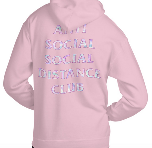 Social Distance Hoodie Pink/Multicolor