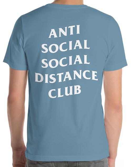 Social Distance Tee Indigo Blue/White