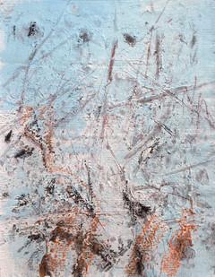 Bundanon Droppings II, pencil, charcoal & gouache on ribbed cotton 43cmx32cm