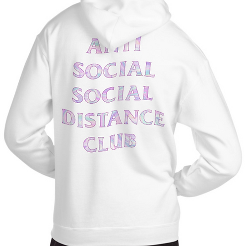 Social Distance Hoodie White/Multicolor
