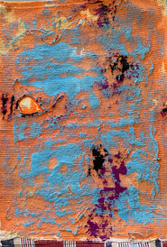 Stargardt exploration V gouache and sand on ribbed cotton 48cmx34cm