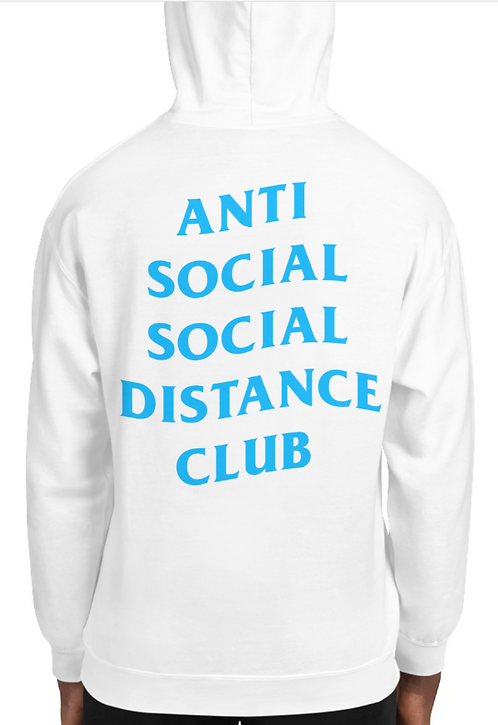 Social Distance Hoodie White/Baby Blue
