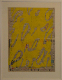 Stargardt's yellow, coloured pencil and printing ink on newspaper 76cmx56cm
