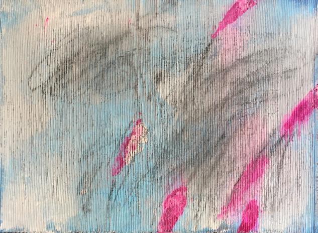 In my garden IX, pencil, graphite, charcoal & gouache on ribbed cotton, 32cmx43cm