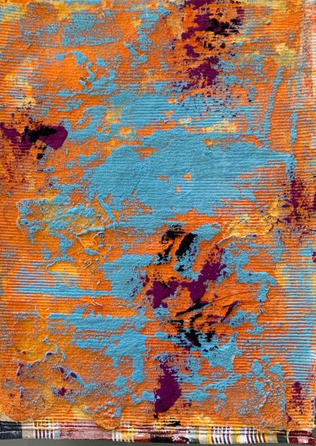 Stargardt exploration III gouache and sand on ribbed cotton, 46cmx33cm