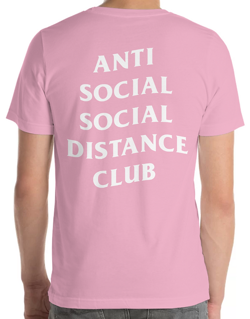 Social Distance Tee Pink/White