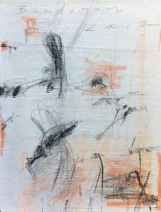 Bundanon Droppings III, pencil, charcoal & gouache on ribbed cotton 43cmx32cm