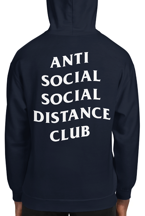 Social Distance Hoodie Navy/White