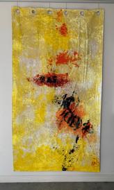 Stargardt Holes V, oil and sand on polyester, 214 x 122cm