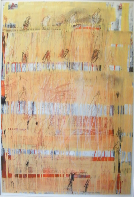 Stargardt's Escarpment IV,  pencil, graphite, charcoal, gouache & crayon on paper 112cmx75cm