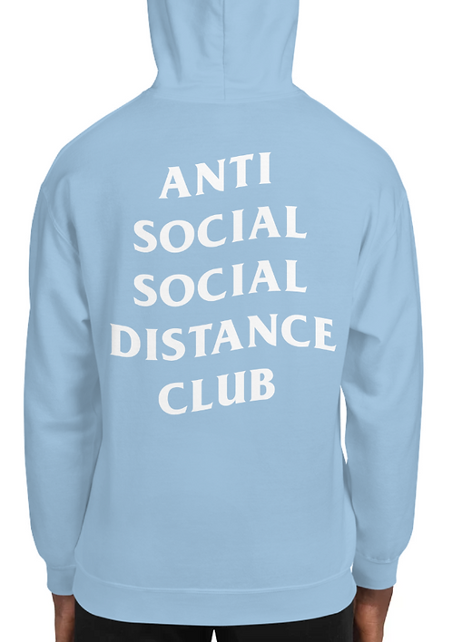 Social Distance Hoodie Baby Blue/White