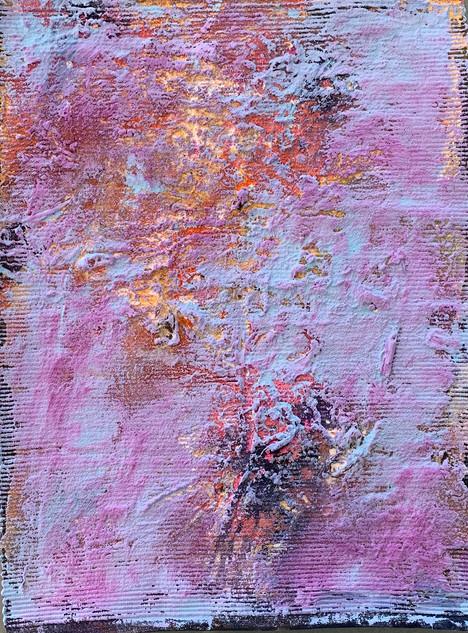 Stargardt exploration I , gouache and sand on ribbed cotton, 45cm x 33cm