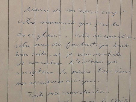 Lettre manuscrite de J-M.G. Le Clézio