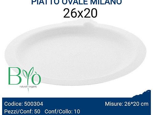 PIATTO bio OVALE MILANO 26X20 PZ.50