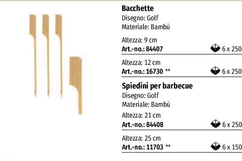 SPIEDINI GOLF IN LEGNO DI Bambù PZ.250