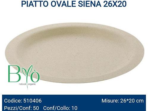 PIATTO bio OVALE SIENA 26X20 PZ.50