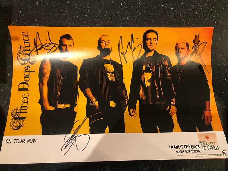 AUTOGRAPHED Three Days Grace Poster