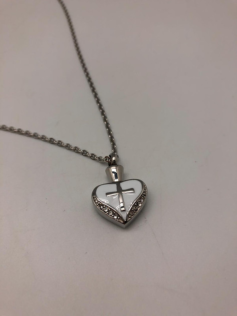 Silver Heart With Cross | 0.5cm (w) x 2cm (h)