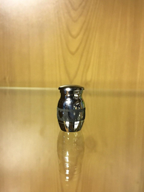 Small Silver Metal Urn With Black Hearts | 1.5cm diameter x 2.5cm (h)