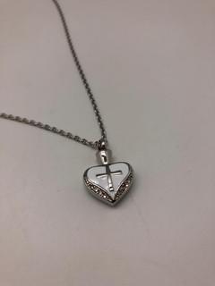 Silver Heart With Cross | 0.5cm (w) x 2cm (h)