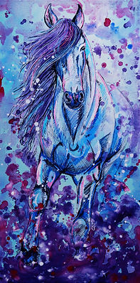 Galloping horse painting, Horse portraits, Custom horse portraits, Pet portraits, Evei Art, Eve Izzett