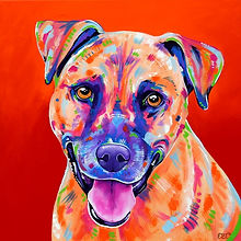 Dog, Tan dog, Custom Pet Portraits, Dog art, Animal Portraits from phots, Evei Art, Eve Izzett
