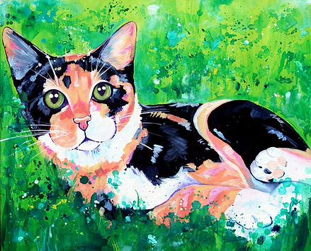 Calico cat panting, pet portraits in australia, cat portrait, pet portraits from photos, Eve Izzett, Evei Art