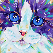 Cat, Kitten, Cat art, Colourful animal art, Evei Art, Eve Izzett