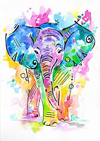 Elephant design, Elephant watecolour painting, Colourful Elephant, Evei Art, Eve Izzett